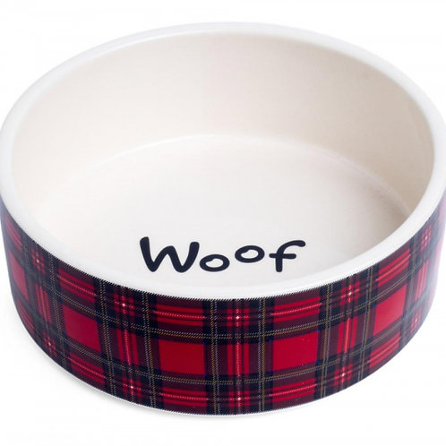 Red Tartan Ceramic Woof Food / Water Bowl