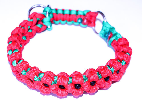 """Paracord Martingale Collar - Red Poppies - Neck Size 6-10"""""""