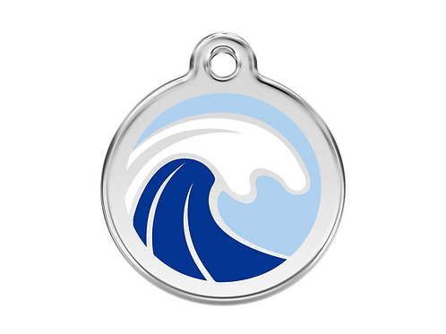 Red Dingo ID Tag - Stainless Steel/Enamel - Waves - Various Sizes