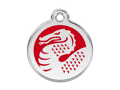 Red Dingo ID Tag - Stainless Steel/Enamel - Red Dragon - Various Sizes