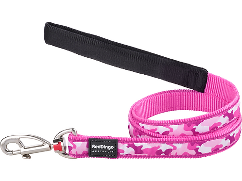 Red Dingo Lead - 1.2m / 4ft - Camouflage Hot Pink