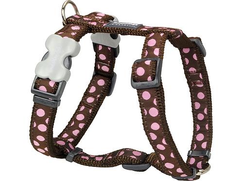 Red Dingo Adjustable Harness - Brown / Pink Spots