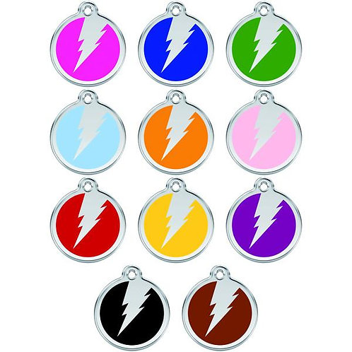 Red Dingo ID Tag - Stainless Steel/Enamel - Flash - Various Sizes
