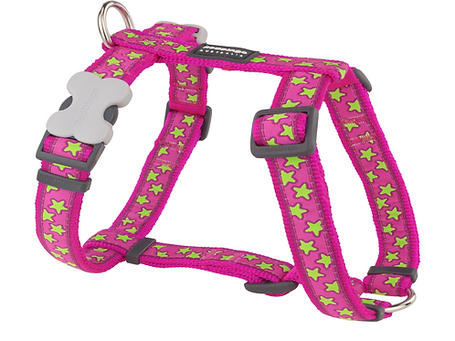 Red Dingo Adjustable Harness - Hot Pink / Lime Green Stars