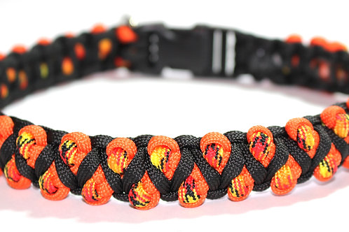 "Paracord Collar - Black & Orange - Neck Size 15 1/4"""