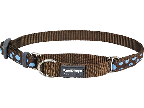 Red Dingo Half Check / Martingale Collar - Brown/Blue Spots
