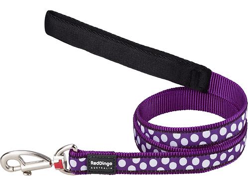 Red Dingo Lead - 1.2m/4ft - Purple / White Spots