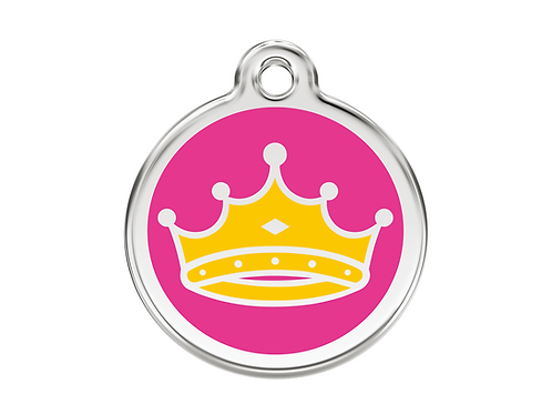 Red Dingo ID Tag - Stainless Steel/Enamel - Queen Crown - Various Sizes