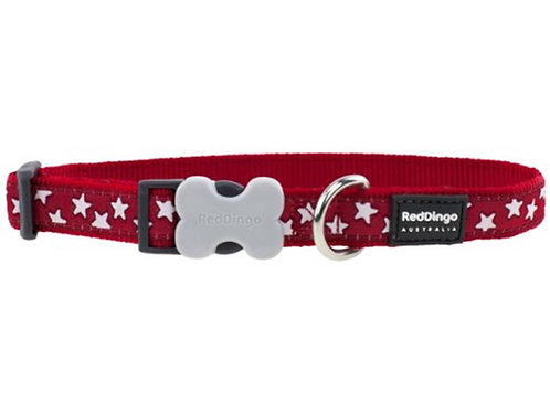 Red Dingo Adjustable Collar - Red/White Stars