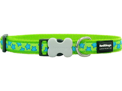 Red Dingo Adjustable Collar - Lime Green/Turquoise Stars