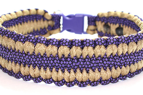 """Paracord Collar - Purple & Gold - Neck Size 14"""" / 1.5 Wide"""