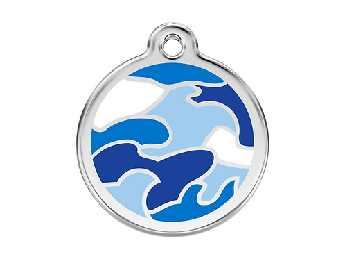 Red Dingo ID Tag - Stainless Steel/Enamel - Camouflage Navy Blue - Various Sizes