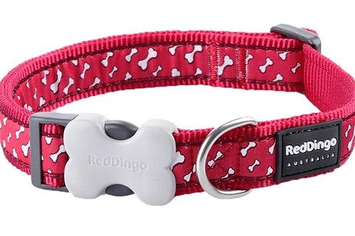 Red Dingo Adjustable Collar - Flying Bones Red