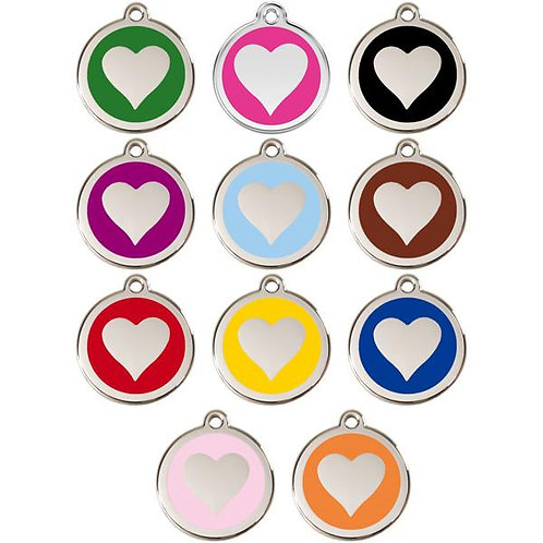 Red Dingo ID Tag - Stainless Steel/Enamel - Heart - Various Sizes