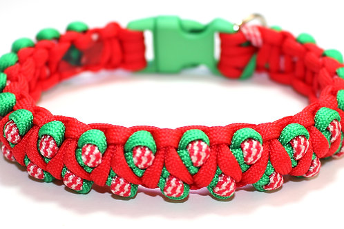 """Paracord Collar - Red, Green & Candy Stripe - Neck Size 9.5"""" / 24cm"""