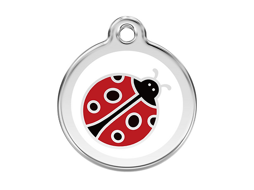 Red Dingo ID Tag - Stainless Steel/Enamel - Ladybird - Various Sizes