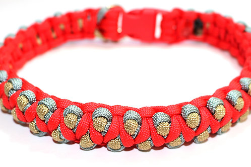 "Paracord Collar - Red, Gold & Silver - Neck Size 14.5"" / 37cm"