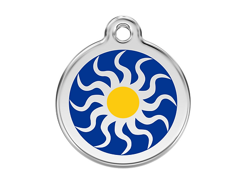 Red Dingo ID Tag - Stainless Steel/Enamel - Tribal Sun - Various Sizes