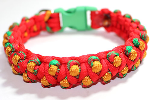 """Paracord Collar - Gold/Red/Green - Neck Sizes 9.5"""""""