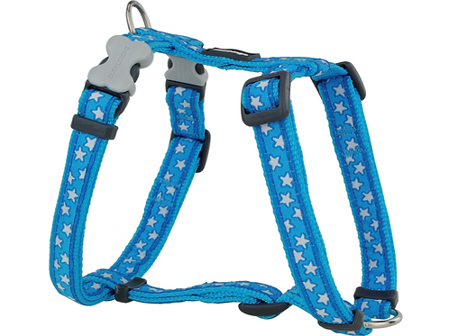 Red Dingo Adjustable Harness - Turquoise / White Stars