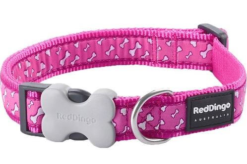 Red Dingo Adjustable Collar - Flying Bones Hot Pink