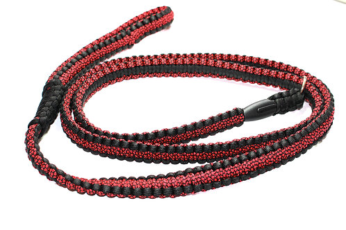 Paracord Slip Lead - Black & Dark Red - 1.6m