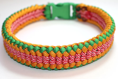 "Paracord Collar - Red, Gold & Green - Neck Size 14.5"" / 37cm"