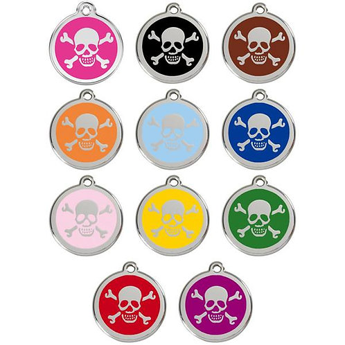 Red Dingo ID Tag - Stainless Steel/Enamel - Skull and Crossbones - Various Sizes
