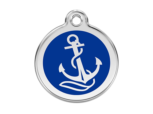 Red Dingo ID Tag - Stainless Steel/Enamel - Anchor - Various Sizes