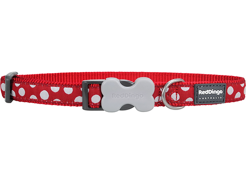 Red Dingo Adjustable Collar - Red / White Spots