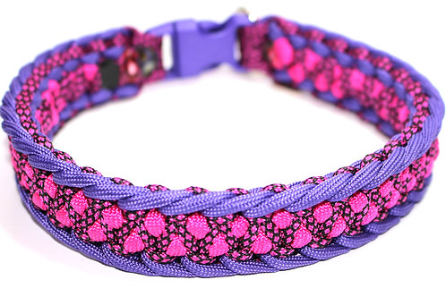"Paracord Collar - Purple & Pink - Neck Sizes  13"" & 13.5 / 1"" Wide"