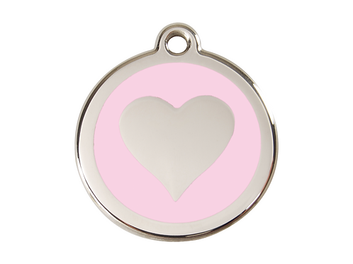 Red Dingo ID Tag - Stainless Steel/Enamel - Pink Heart - Various Sizes