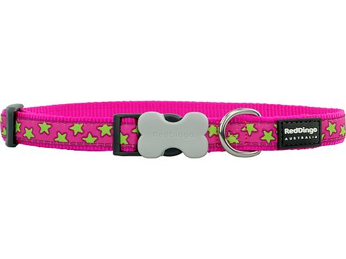 Red Dingo Adjustable Collar - Hot Pink/Lime Green Stars