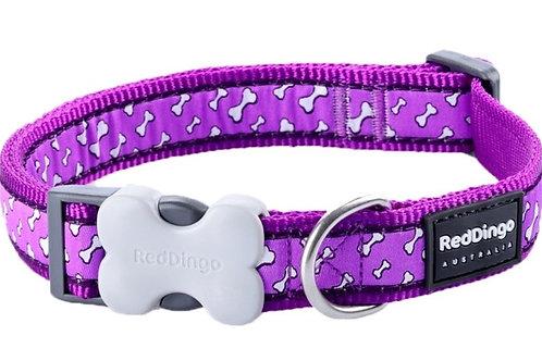 Red Dingo Adjustable Collar - Flying Bones Purple