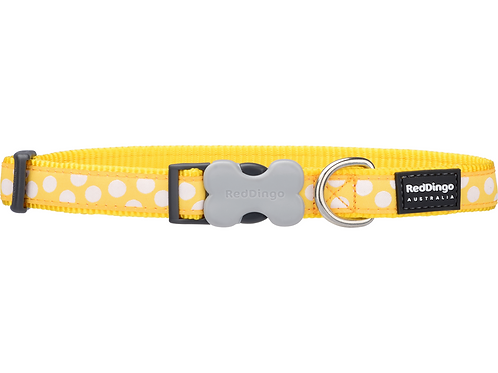 Red Dingo Adjustable Collar - Yellow / White Spots