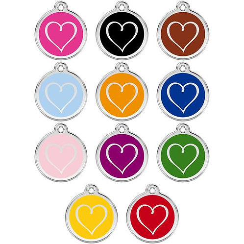 Red Dingo ID Tag - Stainless Steel/Enamel - Tribal Heart - Various Sizes