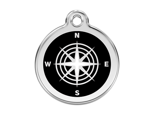 Red Dingo ID Tag - Stainless Steel/Enamel - Compass - Various Sizes