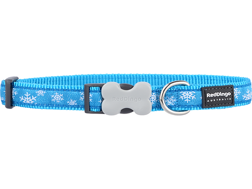Red Dingo Adjustable Collar - Snowflakes Turquoise