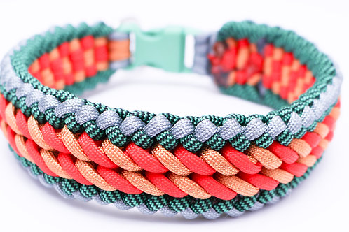 """Paracord Collar - Red/Gold/Green/Grey - Neck Size 12.5"""" / 1.5"""" Wide"""