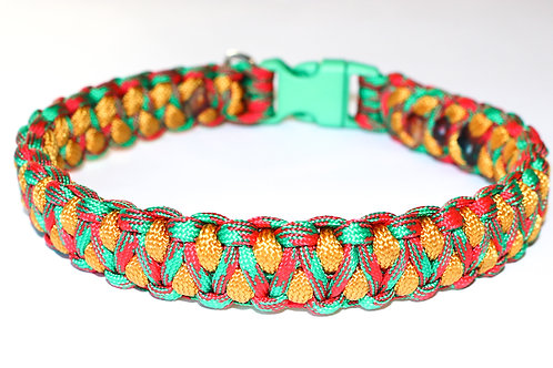 """Paracord Collar - Red, Gold and Green - Neck Size 13.5"""" / 1"""" Wide"""