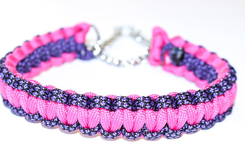 Paracord Martingale Collar - Pink/Purple Multi - Neck Size 9-11""