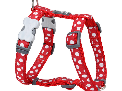 Red Dingo Adjustable Harness - Red / White Spots