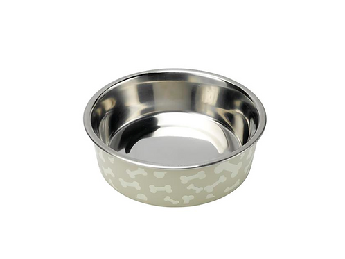 Deli Dog Bowl - Stainless Steel - Grey with Bones