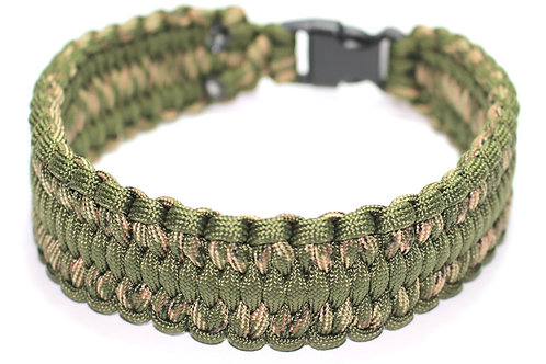"""Paracord Collar / Sighthound Collar - Camouflage Green - Neck Size 13"""""""
