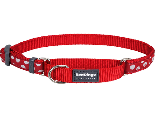 Red Dingo Half Check / Martingale Collar - Red/White Spots