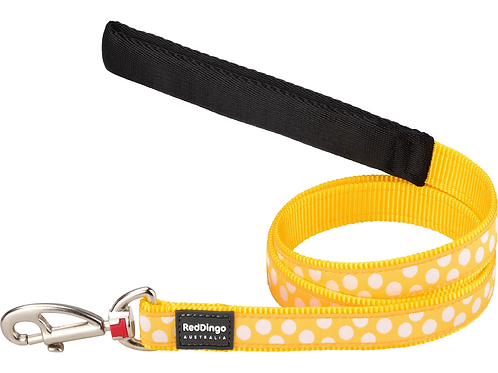 Red Dingo Lead - 1.2m / 4ft - Yellow / White Spots