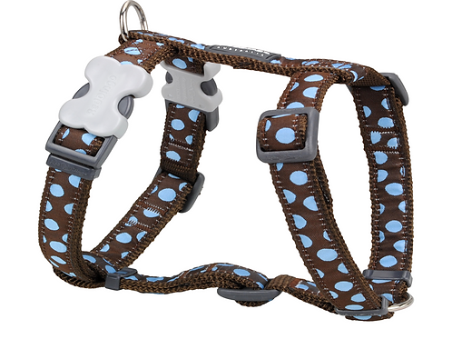 Red Dingo Adjustable Harness - Brown/Blue Spots