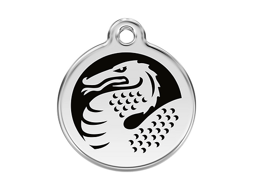 Red Dingo ID Tag - Stainless Steel/Enamel - Black Dragon - Various Sizes