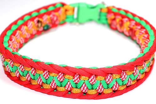 """Paracord Collar - Green/Red/Gold - Neck Size 14"""" / 1"""" Wide"""