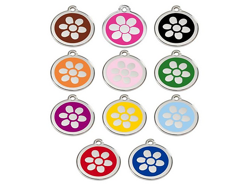 Red Dingo ID Tag - Stainless Steel/Enamel - Flowers - Various Sizes